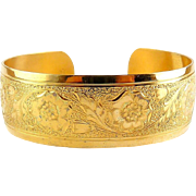Danecraft Sterling Silver Gold Vermeil Poppies Flower Cuff Bracelet