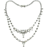 1950's Fancy Rhinestones Two-Tier Necklace - Unique Cuts