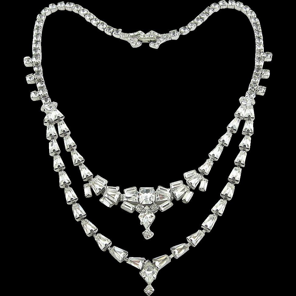 1950's Fancy Rhinestones Two-Tier Necklace - Unique Cuts