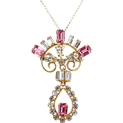 Vintage DeCurtis Gold Filled Pink & Crystal Rhinestone 2-Part Drop Pin - Pendant Necklace