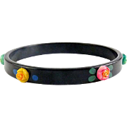 1920's Art Deco Black Celluloid Bangle with Colorful Applied Rosebud Flowers