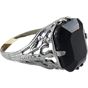 1920's Art Deco Chromium & Jet Black Glass Solitaire Ring - Silver Tone Filigree, Never Worn