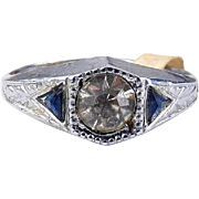 1920's Art Deco Chromium Ring with Crystal Solitaire & Sapphire Tapered Baguette Rhinestones- Old Stock with Tag
