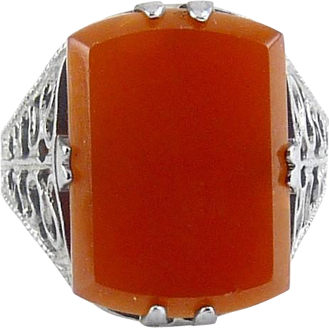 1920's Art Deco Chromium &  Carnelian Glass Solitaire Ring - Fancy Filigree Band, Never Worn
