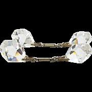 1920's Art Deco Cut Crystal & Chain Cufflinks - Enameled Bar Links