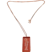 Art Deco Greek or Roman Goddess Crystal Intaglio Pendant, Sterling Frame & Necklace
