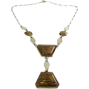 1920's Art Deco Cubist Necklace with Faceted Cocoa Brown Glass Insets
