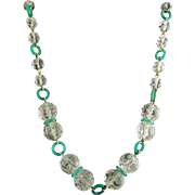 1920's Art Deco Cut Crystal Beads & Jade Green Glass Rings Necklace