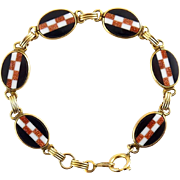 Art Deco Gold-Filled, Goldstone, Black & White Glass Checkerboard Inlay Links Bracelet