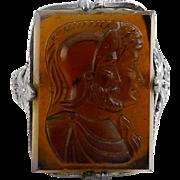 1920's Art Deco Chromium & Smoky Quartz Glass Double Roman Cameo Ring - Silver Tone Filigree, Never Worn
