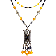 Art Deco Gothic Style Yellow & Black Crystal Beads Necklace, 2-Sided Pendant with Drops