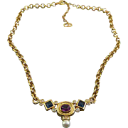 Christian Dior Faux Sapphire, Amethyst, Pearl & Crystal Necklace with Rolo Chain, Adjustable