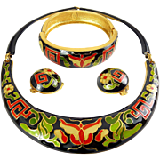 1970's Diane von Furstenburg Asian Butterfly Enamel Set - Necklace, Earrings, Bangle