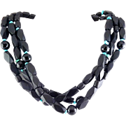 Ebony Wood, Turquoise Nugget & Black Glass 3-Row Necklace, Sterling Clasp