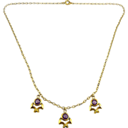 Edwardian Brass & Amethyst Crystal Drops Necklace