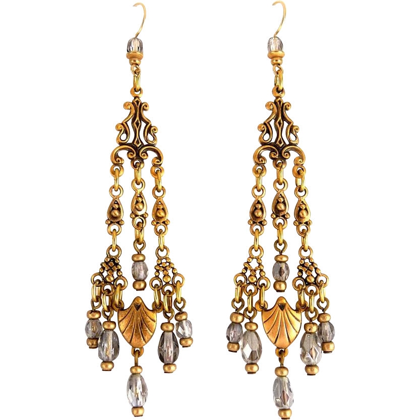 Edwardian Style Brass & Metallic Crystal Bead Long Chandelier Earrings - 3 3/4 Inches