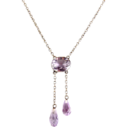 Antique Edwardian Sterling Silver & Amethyst Negligee Pendants Necklace