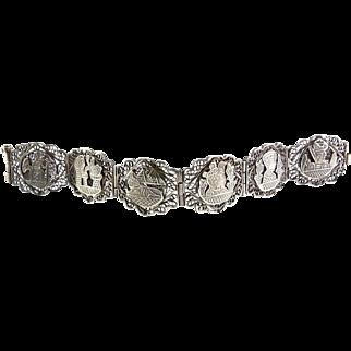 Vintage Egyptian Sterling Silver Filigree & Historic Scenes Bracelet - Many Hallmarks