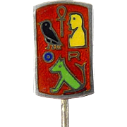Art Deco C1925 Egyptian Theme Sterling & Cloisonne Enamel Stickpin