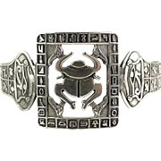 Egyptian Revival Cast Silver Arm Cuff Bracelet-Big Scarab, Hieroglyphics