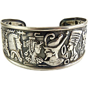 Vintage Revival Egyptian .800 Silver Repousse Wide Cuff Bracelet-King Tut, Nefertiti, Cleopatra
