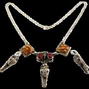 Art Deco Egyptian Revival Snake Head & Goddess Necklace & Earrings