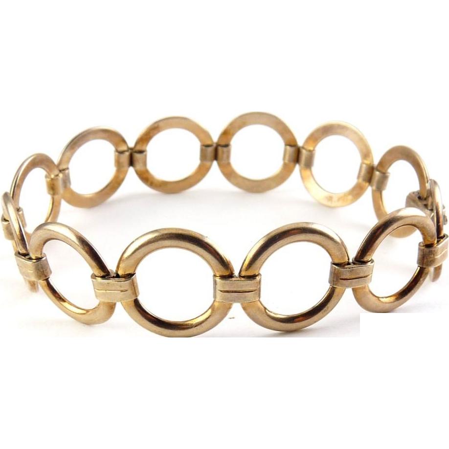1940's Retro Gold Filled Rings Bracelet - Engel Bros.