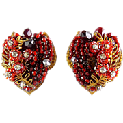 Vintage EUGENE Hand Beaded Red Floral & Rhinestone Large Clip Earrings
