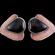 EVE FRANCE Signed Copper, Sterling & Onyx Lg. Modernist Earrings