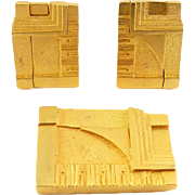 Frank Lloyd Wright Design Geometric Pin & Clip Earrings - MOMA 1994