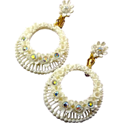 1960's Featherweight Floral Earrings with AB Rhinestones - Bubblelite Plastic