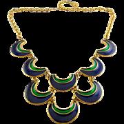Florenza 1970's Blue & Green Enamel Crescents Bib Necklace, Adjustable Length