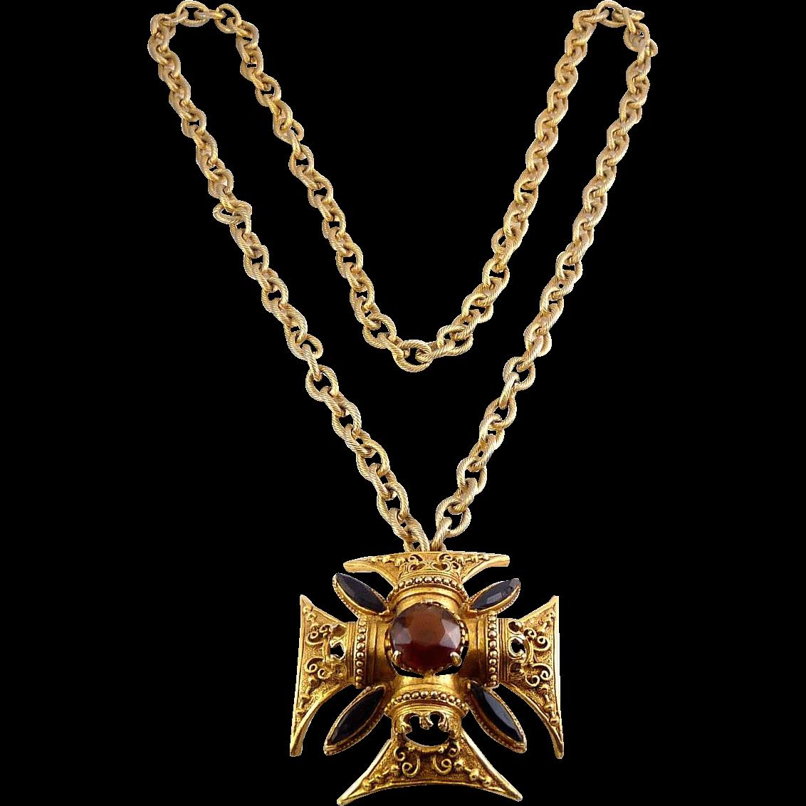 Vintage Florenza Maltese Cross Pin / Pendant Necklace- 5 Stones