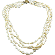 Freshwater Rice Pearls 4 Strand Necklace with Gold Filled Filigree Clasp