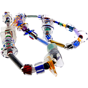 Colorful Furnace Cane Glass Novelty Beads Long Necklace, Sterling Fittings, 30 Inches