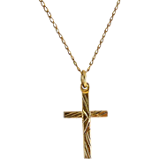Vintage Baby's  or Infant's Gold-Filled Cross & Necklace Chain