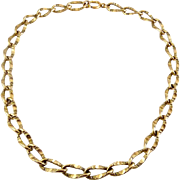 Antique Victorian Gold Filled Patterned Oval Curb Links Necklace - Big Statement Links