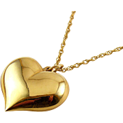 Large Gold-Filled Puffy Heart Pendant on 24 Inch G.F. Chain