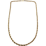 Vintage 12K Gold Filled 22 Inch Rope Chain Necklace
