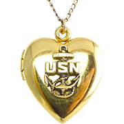 1940's US Navy Heart Locket, Gold-Filled, with Chain Necklace
