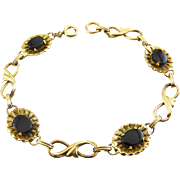 Vintage 12K Gold-Filled Framed Black Onyx & Figure 8 Links Bracelet