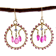 Luscious Gold-Filled Hoop Earrings with Ruby Drops and Iolite & Garnet Beads