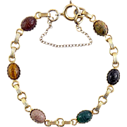 Vintage Gold Filled Gemstone Scarab Bracelet - Variety of Stones, Safety Chain