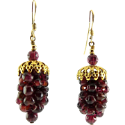 Red Garnet Bead Grape Cluster Drop Earrings with Gold Filled Pierced Wires