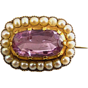 Georgian Antique 15K Gold, Pink Topaz & Pearl Brooch Pin – C1820