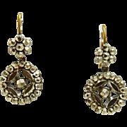 Georgian Victorian Cut steel Earrings, Round Drops, 9K Pierced Gold Tops