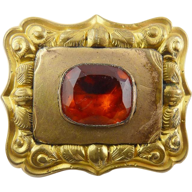 Antique C1800 Georgian Gold Filled Foil Backed Citrine Paste Glass Jeweled Pin/Pendant