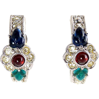 GIVENCHY Art Deco Fruit Salad Glass & Crystal Rhinestone Half-Hoop Earrings - 1980s