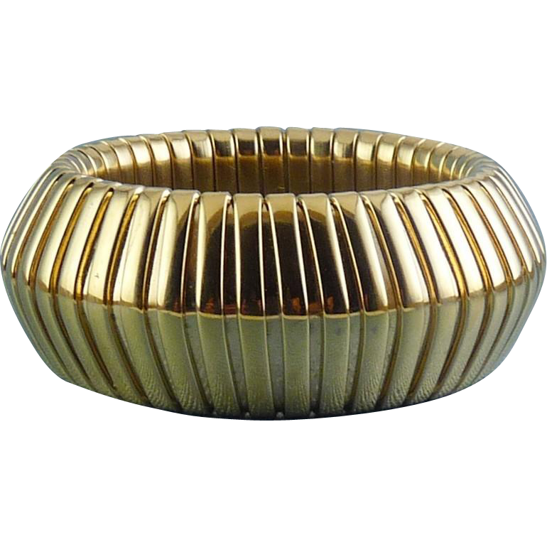 Vintage Givenchy Gold-Plated Gaspipe Expansion Wide Bangle Bracelet - Bold Retro Style