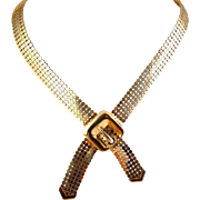 Gold-Plated Mesh Crossover Necklace with Buckle Ornament, Adjustable